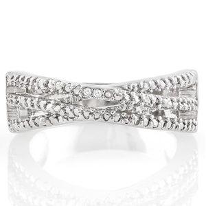 Jewelry - 0.10ctw Genuine Diamond 14k White gold fill Size 8